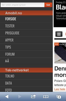 Trykk menyknappen øverst til venstre for å navigere til andre seksjoner på Amobil.no eller i Tek-nettverket.