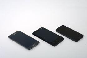Fra venstre: Samsung Ativ S, Nokia Lumia 920 og Apple iPhone 5.