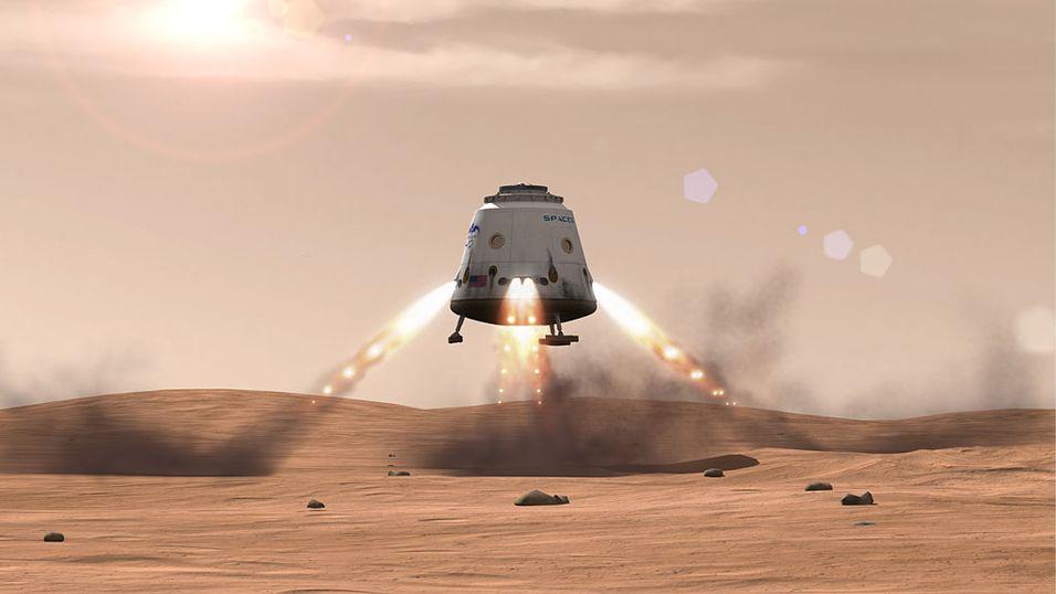 Slik forestiller SpaceX seg at  landingen på Mars kan bli.