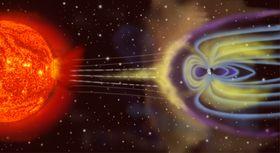 BESKYTTENDE MAGNETFELT: Energi fra solstormer som «blåses» mot jorden blir hindret av jordens magnetfelter, slik denne grafikken illustrerer.