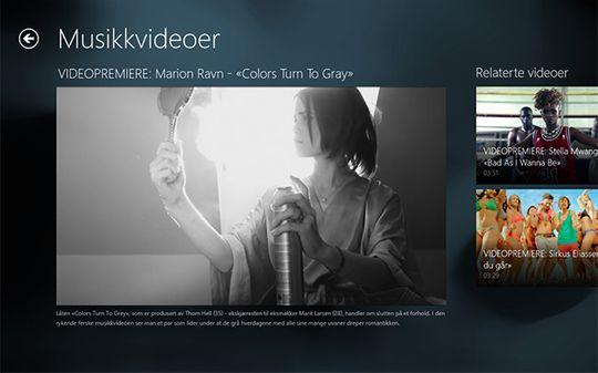 VGTV app for Windows 8. Berøring av bildet starter og stopper avspilling av filmen og viser minimale avspillingskontroller.