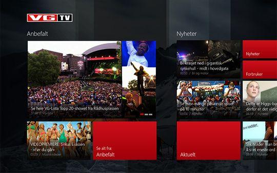 VGTVs nye app for Windows 8. Navigasjon skjer ved å ta/klikke på innholdet. Horisontal scrolling viser flere kategorier.