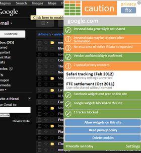 Med PrivacyFix kan du få opp informasjon om svært mange av de mest populære nettsidene og se hvordan de behandler din informasjon.