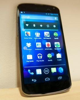Slik ser LG Nexus 4 ut på nært  hold.