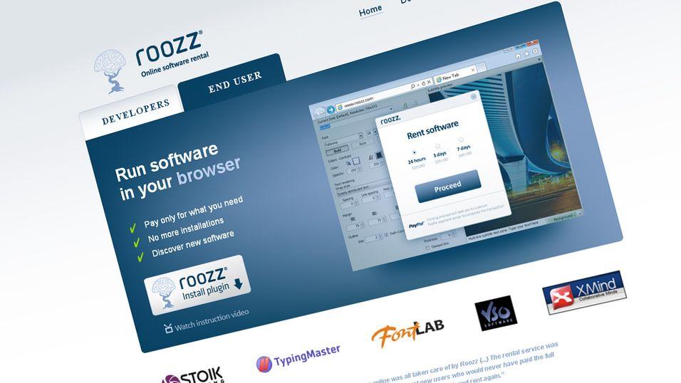 Roozz lar deg leie programvare og kjøre det direkte i nettleseren.
