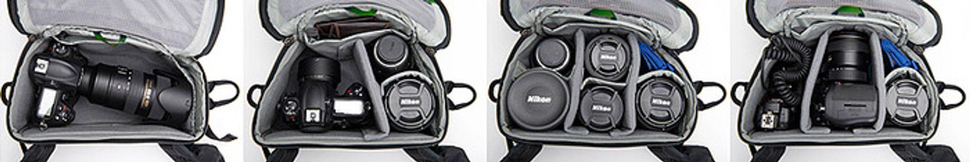 I det smarte rommet nederst på sekken, får man for eksempel plass til et fullformatskamera med et objektiv på 70-200 mm.
