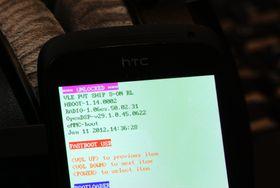 """Når bootloaderen er låst opp i HTC One S, står det """"UNLOCKED"""" øverst."""
