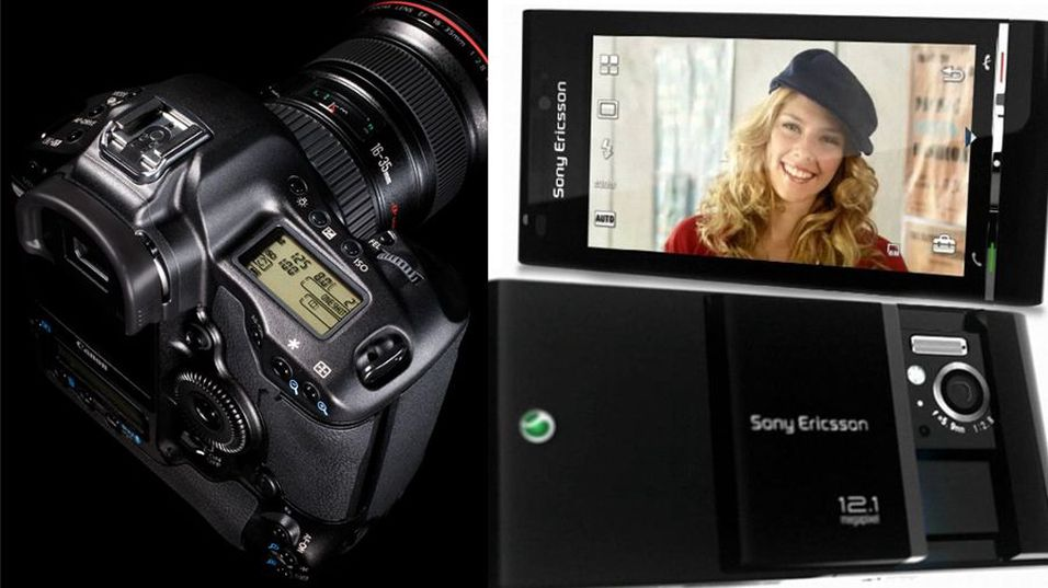 Kameraet til venstre koster over 30.000 kroner og har 10 megapiksels oppløsning. Mobilen til høyre er enda ikke lansert, men skal få 12 megapikslers oppløsning. Hvilket tror du tar best bilder?