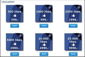 Det finnes mange sider som tilbyr deg enkle «likes» på Facebooksiden til bedrifter.