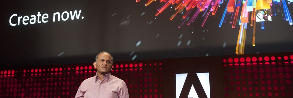 Shantanu Narayen, administrerende direktør i Adobe lanserer Adobe Creative Cloud og CS6 den 23. april i år.