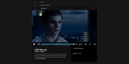 Du kan gå inn på hver serie og få opp en enkel oversikt over alle episodene.