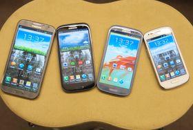 Fire galakser - fra venstre; Galaxy Note II, Galaxy S III 4G, Galaxy S III og Galaxy S III Mini.