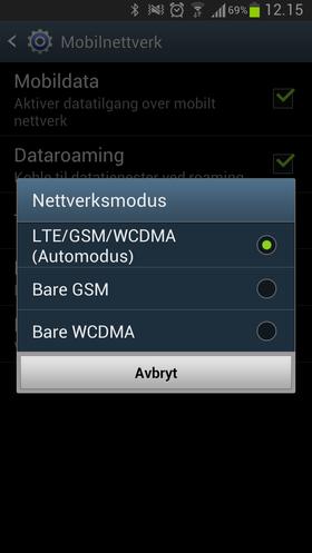 Det ergrer oss litt at vi må velge mellom automatisk valg av nett, og 3G eller 2G. Vi kan altså ikke sette en høyeste foretrukket standard. Velger vi å sette telefonen til 3G, vil den mangle dekning helt så fort du er i et område med bare 2G-dekning.