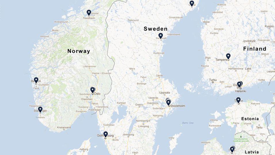 Dette kartet viser Internett
