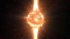 FATAL FYSIKK: Dersom et svart hull skulle overleve inne i jorden, ville det raskt og sikkert fortært planeten fra innsiden. Til slutt ville de to energisøylene fra det svarte hullets poler trenge gjennom jordskorpa.