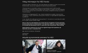Gårsdagens e-post fra HBO Nordic.