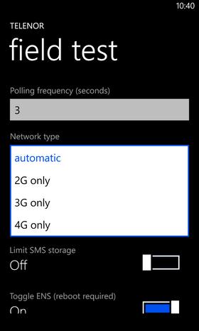 """Inne i menyen bytter du fra 3G til Automatic. Du må også aktivere """"Toggle ENS""""-valget, før du skrur av telefonen og starter den på nytt."""