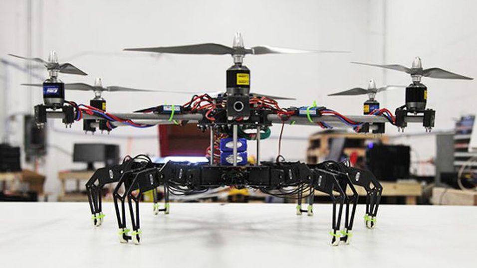 Denne tingesten er en kombinasjon mellom et kvadrokopter og en seksbeint robot.