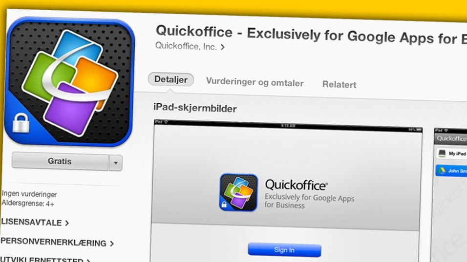 QuickOffice blir gratis for bedriftskundene