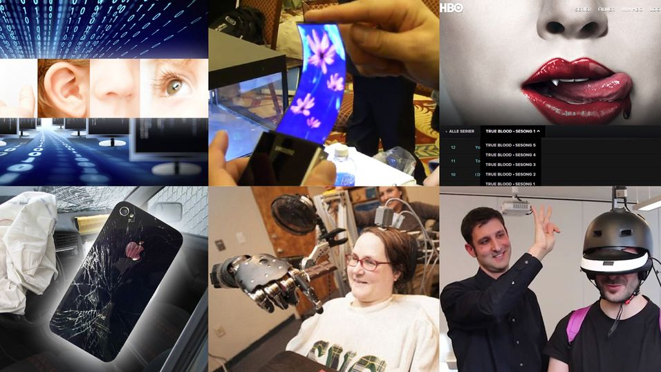 Denne uken har vi blant annet sett datamaskiner som kan se, lukte og høre, bøyelige mobilskjermer, gratis HBO, telefon-airbag, hjernekontrollert robotarm og 360-graders syn.