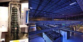 Googles første server til høyre, og en av dagens mange serverparker.