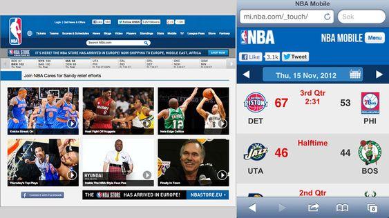 NBA har tilpasset sine sider forskjellig til iPad og iPhone.