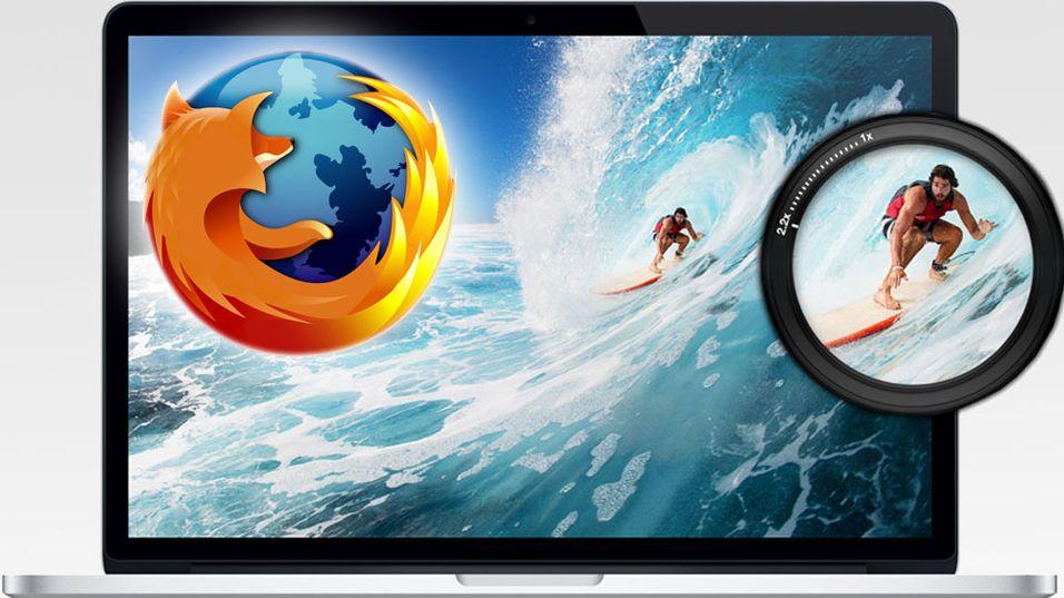 Nyeste versjon av nettleseren Firefox har Retina-støtte.