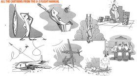TEGNESERIER: Nettsiden jalopnik.com har samlet alle tegneseriebildene fra brukerhåndboken i dette bildet.