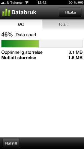 Opera Mini på iPhone gir klar beskjed om at den sparer deg for mye datatrafikk.