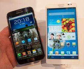 Huawei Ascend Mate har 0,6 tommer større skjerm enn Samsungs Galaxy Note II.