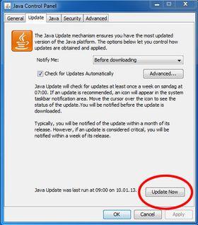 Slik oppdaterer du Java. Klikk for større versjon.