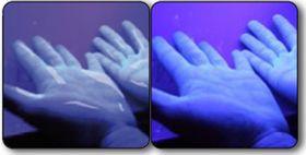 UV-lys viser om du fortsatt har noen uhumskheter på hendene.