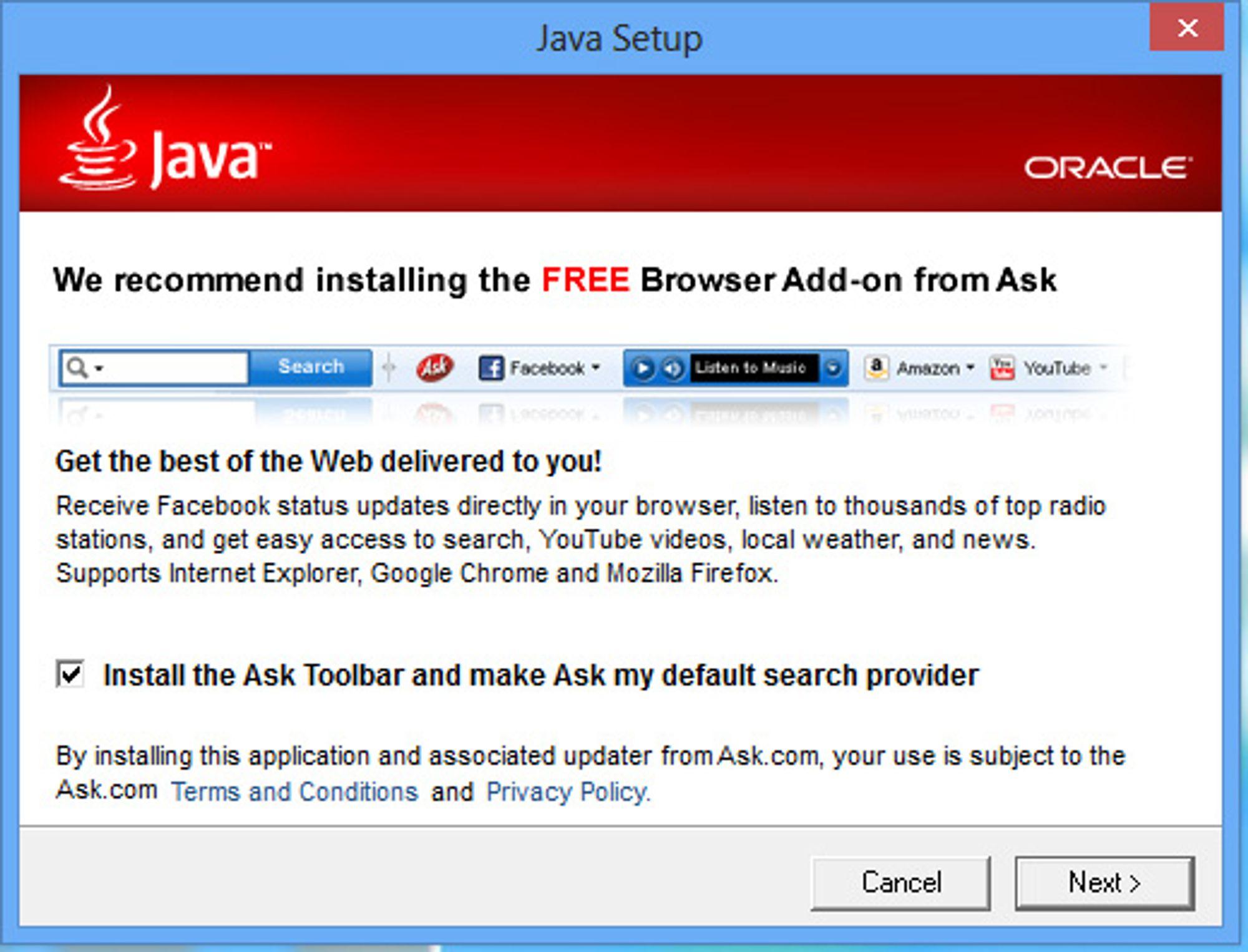 Boksen for å installere Ask er alltid huket av som standard.