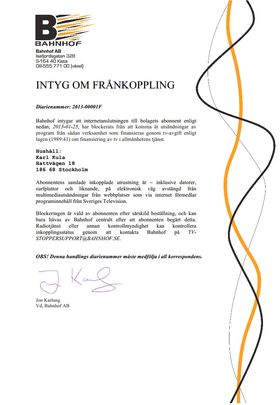 Eksempel på brevet kundene får fra Bahnhof.