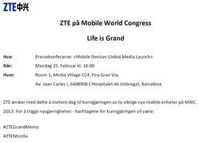 Slik ser ZTEs invitasjon til produktlansering ut.