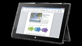 Støtten til Surface Pro gir bare én fast vinkel.