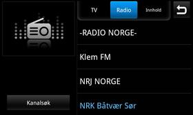 TV-avspilleren inneholder også et valg for DAB-radio.