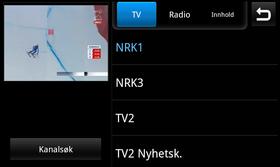 Når du har valgt en TV-kanal dukker den opp i et lite vindu i øverste venstre hjørne. Et trykk på vinduet gir fullskjermsvisning. .