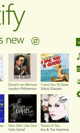 Ett hakk til høyre for åpningsskjermen finner vi et skjermbilde som presenterer nyhetene på Spotify.