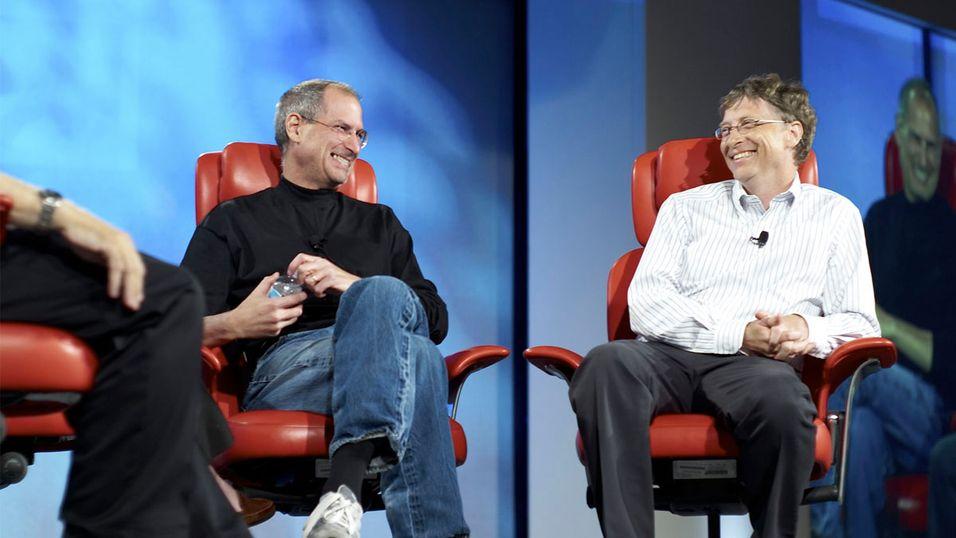Steve Jobs og Bill Gates i et tidligere intervju på en All Things D-konferanse.