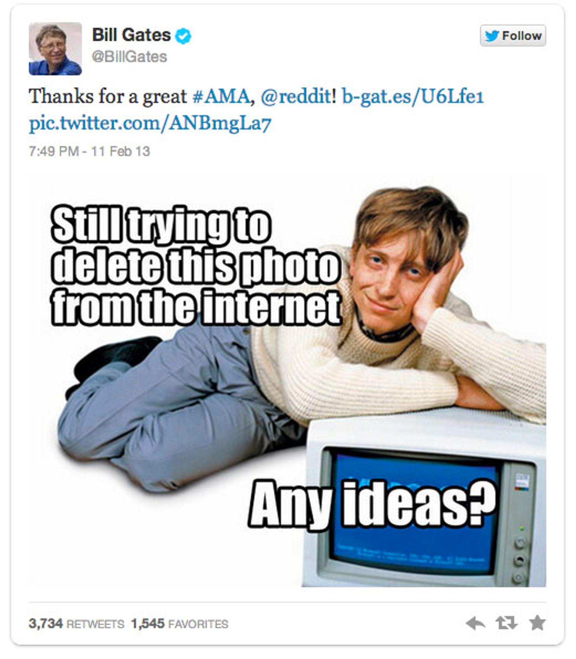 Som et siste ønske til følgerne sine, ba Gates om å få fjernet dette bildet fra nettet. .