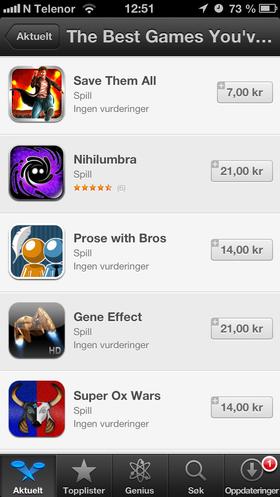 Ukjente spill fra Apple App Store.
