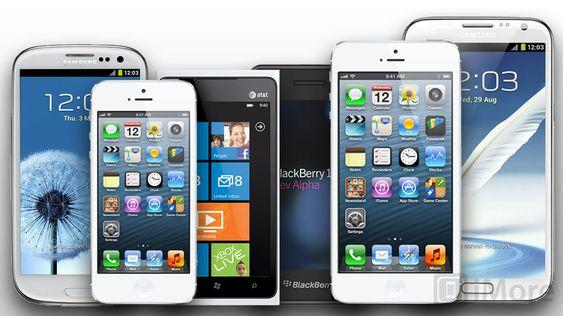 Apple har en større versjon av iPhone på gang, skal vi tro iMore. Her en konseptskisse, med stor iPhone som nummer to fra høyre.