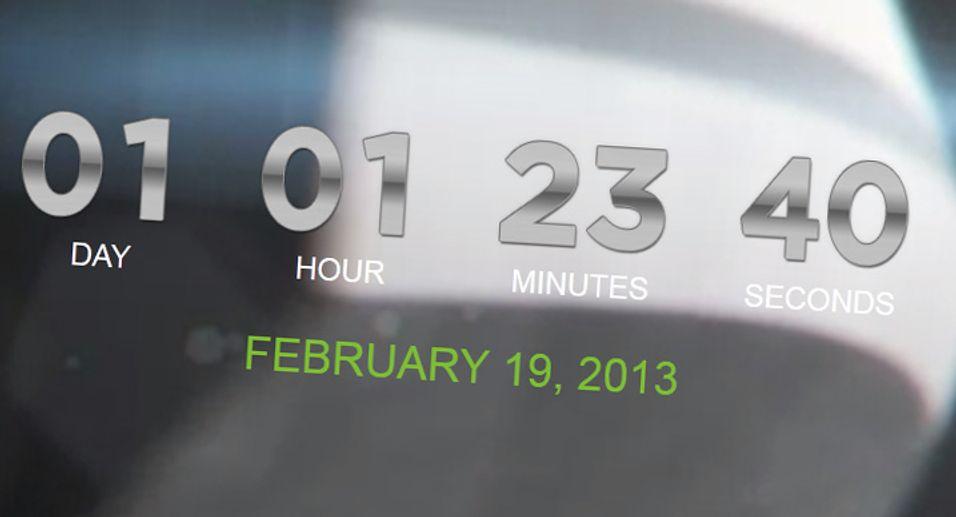 Denne skjermdumpen viser HTCs nedtellingsklokke, med en videosnutt bak. Det vi ser likner mye på en skråskjært metallprofil.