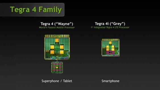 Tegra 4i (til høyre) er mindre enn Tegra 4, og radiobrikken som gir LTE-støtte er innebygget.