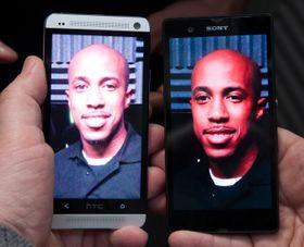 HTC One ved siden av Sony Xperia Z. HTC skrøt mye av kameraet sitt, men her ser det ut til at Xperia Z har tatt innersvingen på det. Akkurat hvor godt kameraet i One er, får vi ikke vite før vi får et endelig eksemplar til test.