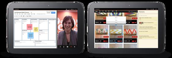 En mobilapp og en nettbrettapp kan vises ved siden av hverandre.