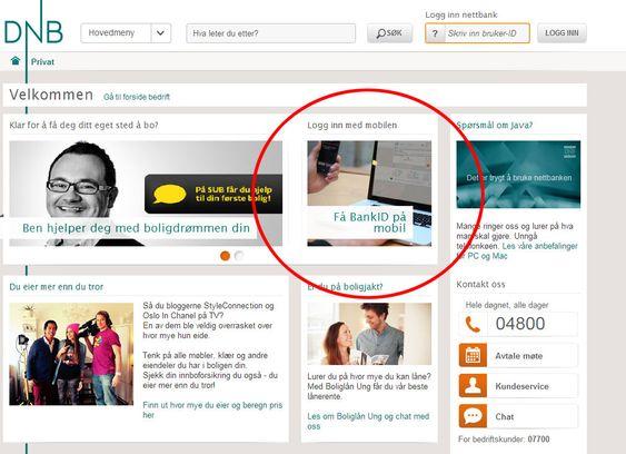 Bank ID på mobil promoteres tydelig.