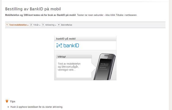 Nettbanken sjekker om du kan ha Bank Id på mobil.