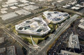 Nvidias nye hovedkontor i Silicon Valley. De gamle kan skimtes nede til høyre.